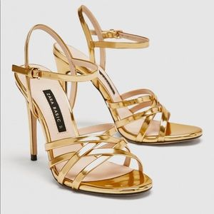 NWT Zara Gold Sandals.